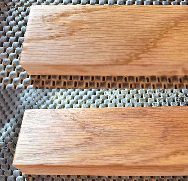 Two boards demonstrating a high sheen versus a low sheen finish