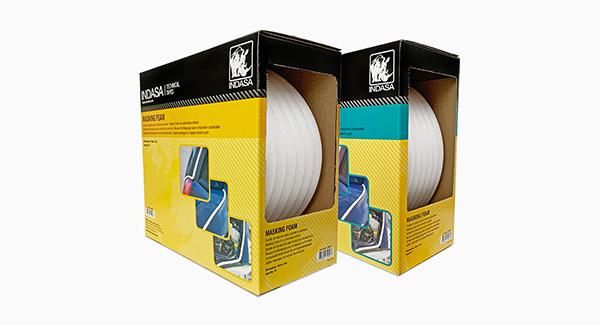 Indasa Foam Tape rolls in dispensing boxes
